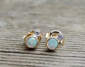 Diamond & Opal Earrings, natural diamond earrings, opal stud earrings, tiny opal earrings, gold earrings, silver earrings