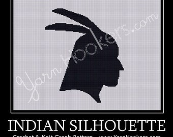 Indian SIlhouette -  Afghan Crochet Graph Pattern Chart - Instant Download