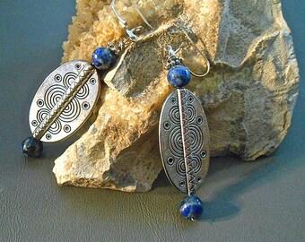 Lapis Tibetan Silver Tribal Shield Earrings Boho African Inspired    Gift Trending Colors