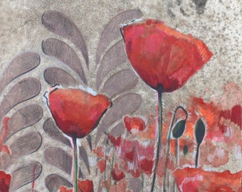 Red Poppy with Gray- Archival Print of Original Watercolor