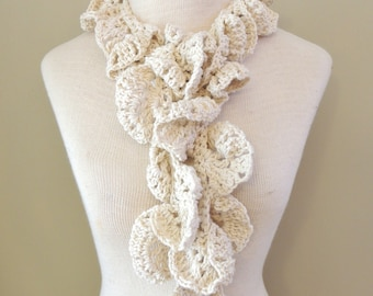 Sculpted Leaves Cotton Fashion scarf, sculptural scarf, 100% cotton, Ivory, READY to SHIP, One Only,