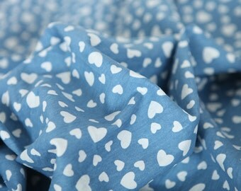 Hearts Stretchy Denim Cotton Fabric - By the Yard 65254 - 240