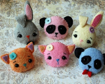 Felt Animal Brooch - Bunny, Panda, Kitty - Gingermelon Design