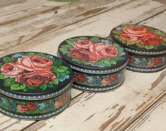 Mid Century Cabbabe Roses Tins Set of Three