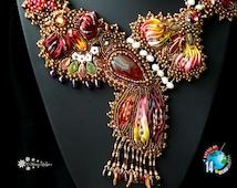 Bead embroidered necklace SECRET GARDEN  with Shibori silk ribbon Beadwork seed beaded jewelry OOAK