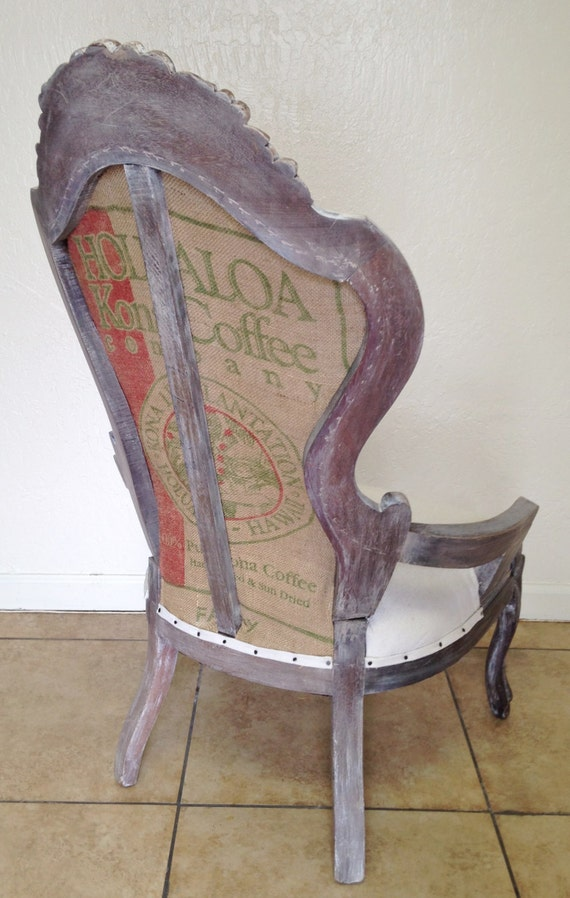 Vintage Classic Yet Casual Victorian Chair Custom White Wash Finish Muslin Upholstery