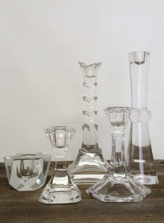 "Candlestick Candle Holder Collection Crystal Contemporary Set 5-""Ships International"" Email For Rates"
