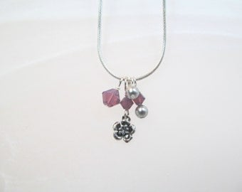 Flower Charm Necklace sterling silver small with crystals