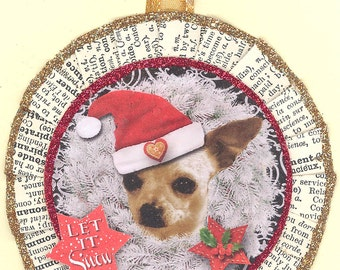 Chihuahua Dog | Christmas ornament | Vintage style
