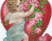 Victorian Die Cut Embossed Valentine Cupid with Roses 1920s Vintage