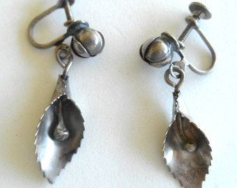 Earrings Vintage Calla Lily 925 Screw Back