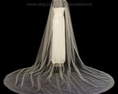Cathedral Bridal Veil with Crystal Edge, Scattered Crystals, Crystal Top, 110 inch Wedding Veil, White Diamond Ivory, Style 1067 'Summer'