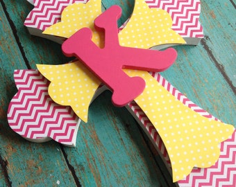 Girls Baptism Gift, First Communion Gift, Pink Chevron, Pink and Yellow Nursery Art,  Personalized Cross, Personalized Gift