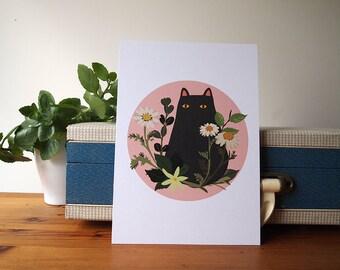 Black Cat with Foliage A5 Print - Black Cat illustration - Cat Print - I like Cats - Black cat - Cat illustration - Cat art - Wall art - art