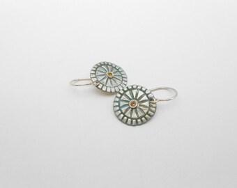 Fine Silver Earrings, Mandarin Cubic Zirconia, Blue Patina, Metal Clay Earrings, PMC Earrings, Sensitive Ears