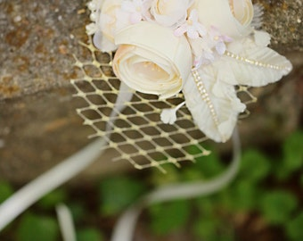 Ivory & Gold Flower Veil Fascinator, Floral Feather Leaf Millinery Headpiece