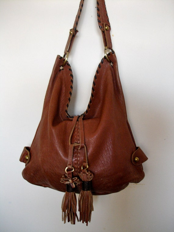 Vintage Carla Mancini Hobo Bucket Bag Tassel Saddle Leather