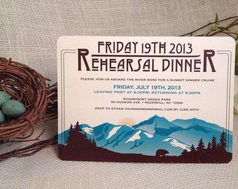 Craftsman Alaskan Denali Rehearsal Dinner 5x7 Invitation with Envelope: Get Started Deposit or DIY payment