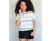 Black and White Geometric Knit Short Sleeved Top
