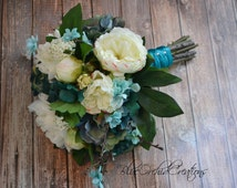 Garden Bouquet in Cream and and Teal Turquoise Aqua Vintage Inspired Bouquet Shabby Chic Bouquet Wedding Bouquet Teal Bouquet