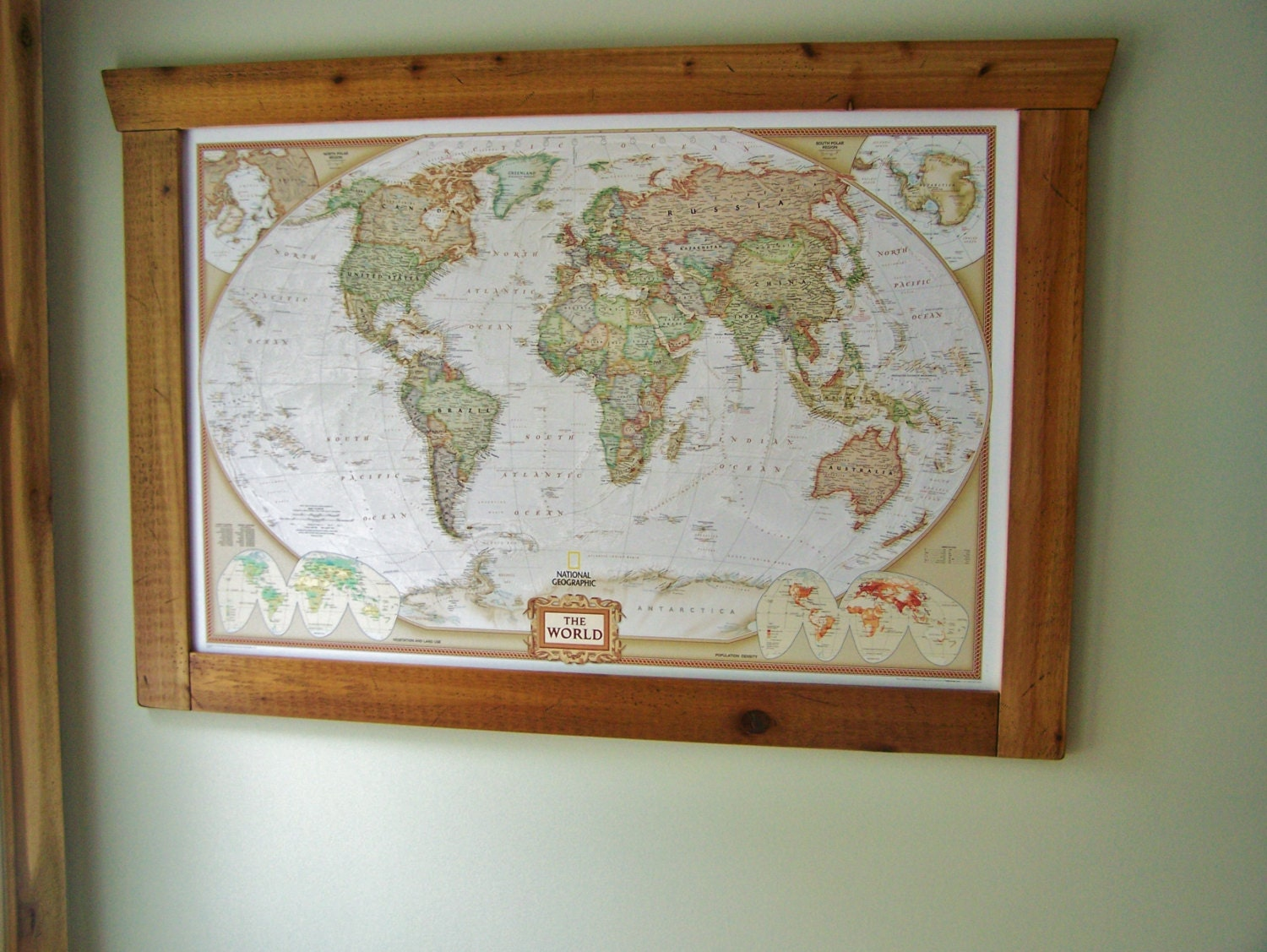 Push Pin World Map with Handcrafted Frame Neutral Map Large