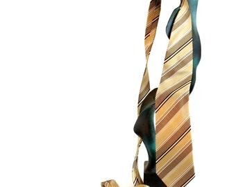 80s necktie by  Pierre Cardin.  Designer men's necktie.  Beige gold black bronze silk. Made in  USA. Father's day gift. Boyfriend gift