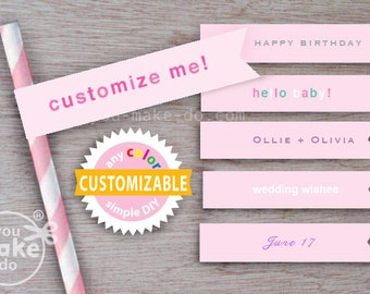 pink party, girl baby shower, pink baby shower, 1st birthday girl, pink straws, straw flags, paper straws, party printables, pink birthday