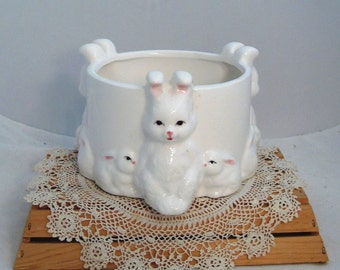Vintage Ceramic Bunny Planter made in Korea