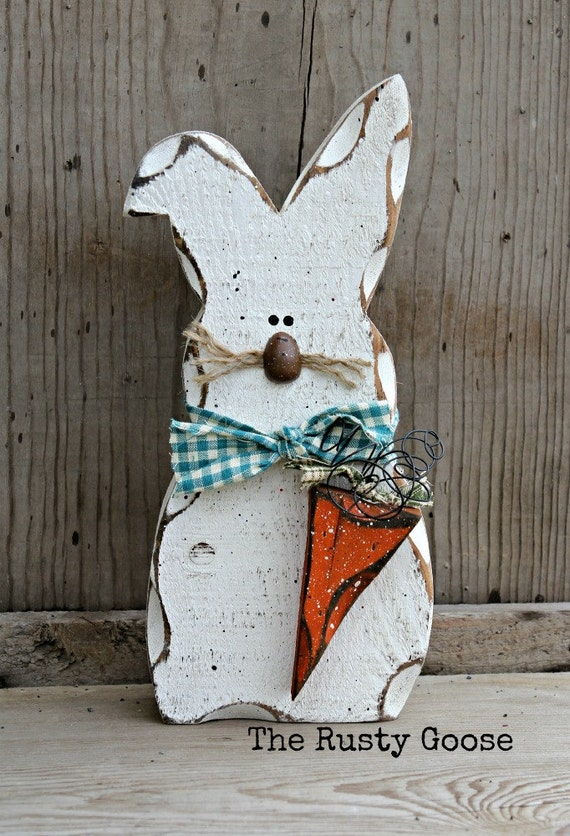 Easter Bunny Decor Rustic Spring Decor Spring Bunny Shelf