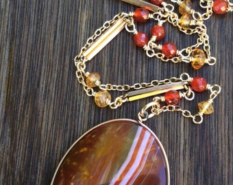 RESERVED FOR ANITA - Large Antique Banded Agate Necklace, Antique Watch Chain Links, Carnelian and Citrine Gemstone Chain