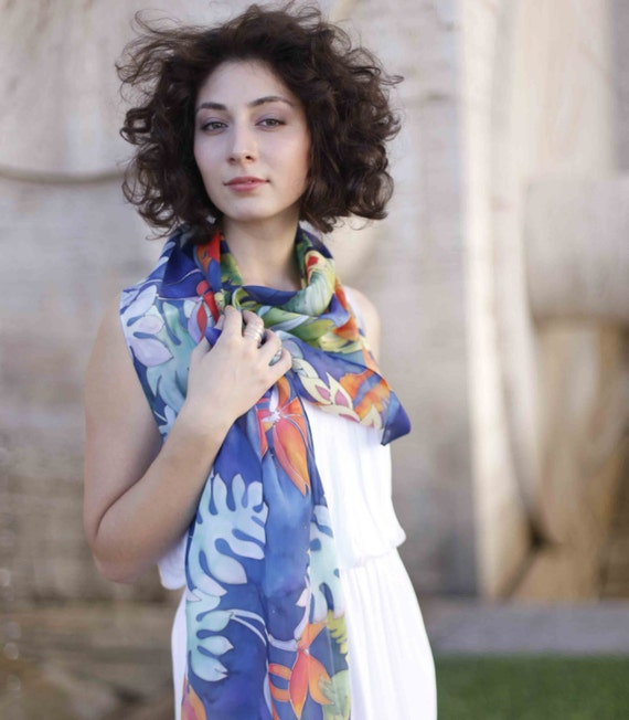 Tropical Silk scarf with flowers. Navy and sea blue , emerald green, coral and orange colors. Made to order!