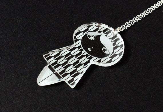 Doll pendant with yagasuri pattern - matriochka necklace - kokeshi jewelry - lasercut acrylic - graphic jewellery - Japanese - graphic