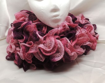 Very Pink Ruffled Knit Fashion Scarf