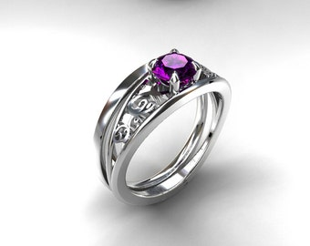 Engagement ring set, amethyst engagement ring, filigree ring, simple wedding band, purple engagement ring, white gold, unique, solitaire