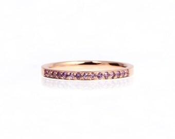 Lavender sapphire ring, white gold, sapphire wedding band, violet sapphire, eternity ring, purple sapphire, light purple, wedding ring