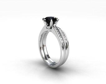 engagement ring set, black diamond engagement, Diamond band, wedding ring set, white gold, black diamond, pave, solitaire, gothic