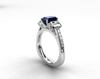 Blue and white sapphire trinity engagement ring, emerald cut sapphire ring, white gold engagement , unique, blue sapphire, emerald cut