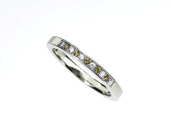 Yellow sapphire and diamond wedding band, white gold ring, half eternity, yellow sapphire, unique wedding, thin, engagement, yellow wedding