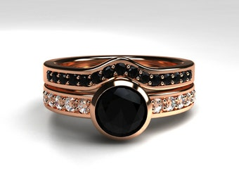 Black diamond engagement ring set, rose gold ring, diamond wedding, bezel, curved eternity ring, gothic engagement, black solitaire, unique