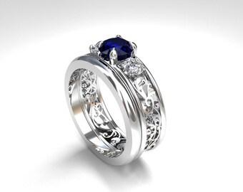 Blue sapphire wedding ring set filigree wedding ring blue