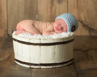 Baby Boy Hat Sky Blue Baby Hat 0 to 3 Month Wood Button Baby Boy Beanie Baby Shower Gift Newborn Baby Boy Clothes Newborn Photo Prop