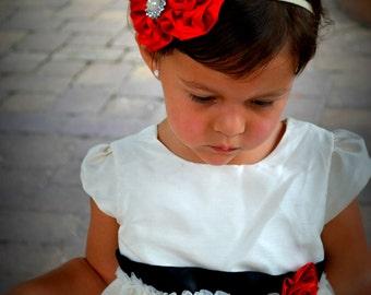 Red Satin Flowers Headband. Baby Headband. Newborn Headband. Girl Headband. Photo Prop.