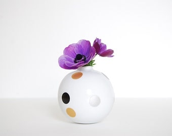 Vase Ball . Dots Patterns . Silver, Gold and Black . Glitter . White Porcelain . Made in France . Handpainted . Minimalist Design
