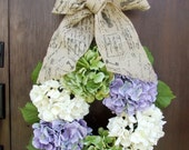 Hydrangea Wreath - Off White, Green and Lavender with Document Burlap Ribbon