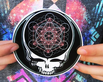 Steal Your Face Metatron's Cube Grateful Dead Black and White High Quality Vinyl Sticker
