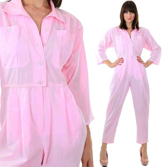 80s Pink Menswear Jumpsuit Romper Disco Pink Pantsuit Button