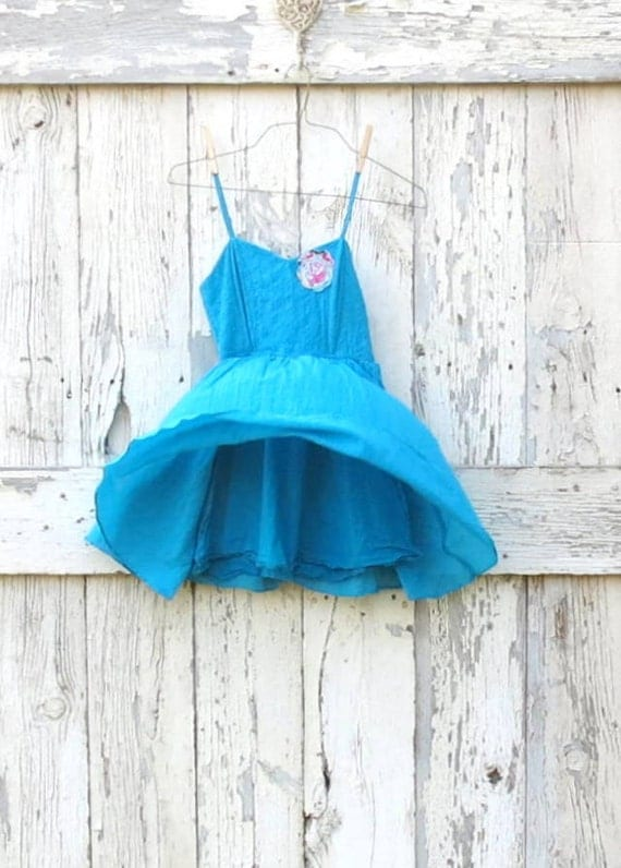 Beautiful Blue Ballet Tunic- upcycled ballet style tank- blue indie fashion-  eco friendly top