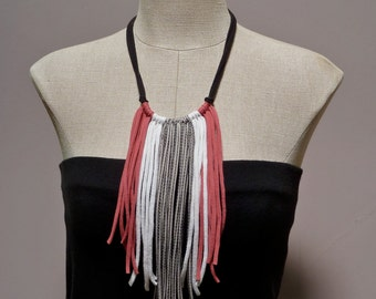 Fringe Statement Necklace - Repurposed, Upcycled, Eco-Friendly, Gift Under 30