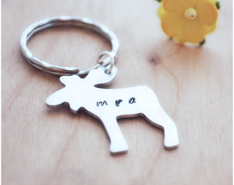 Aluminum Moose Keychain - Moosing Around Key Ring - Animal Key Chain - Hand Stamped Keyring