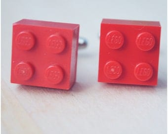 Geeky Cufflinks With Lego Bricks - Father's Day 2016 - Red Cufflinks - Hipster Cuff Links